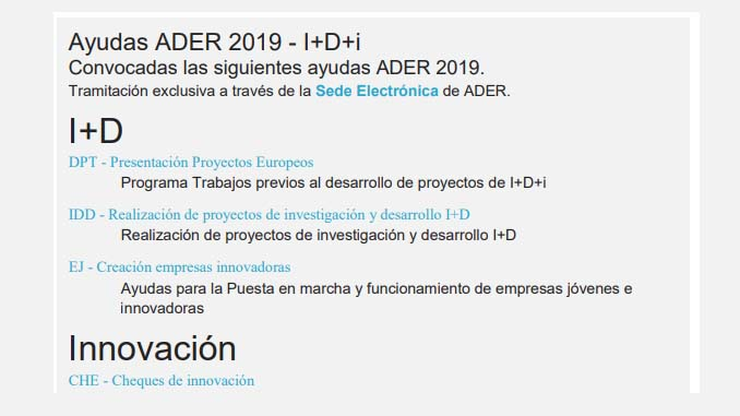 Ayudas ADER 2019 – I+D+i Convocadas las siguientes ayudas ADER 2019.